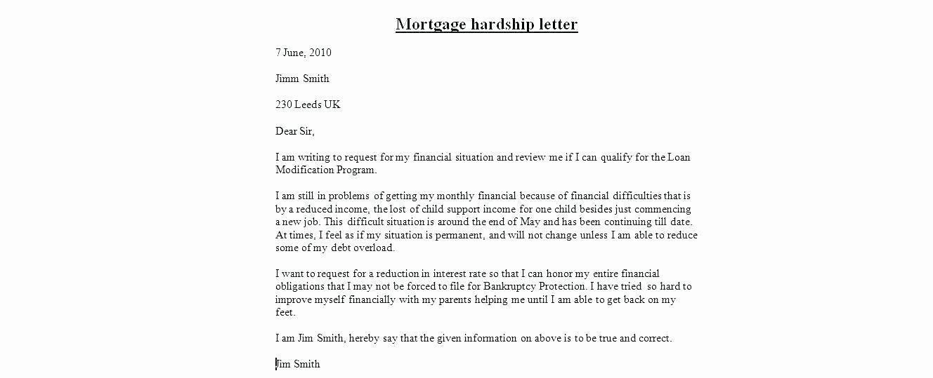 Hardship Letter Template for Loan Modification Request Elegant Hardship Letter for Short Sale