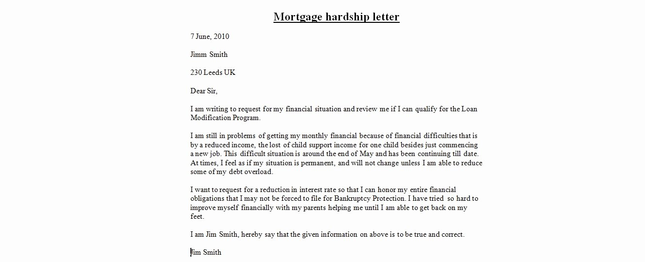 Hardship Letter Template for Loan Modification Request Fresh Hardship Letter for Loan Modification