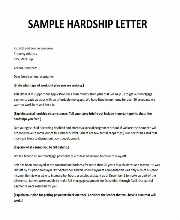 Hardship Letter Template for Loan Modification Request Inspirational 6 Hardship Letter Templates 6 Free Sample Example
