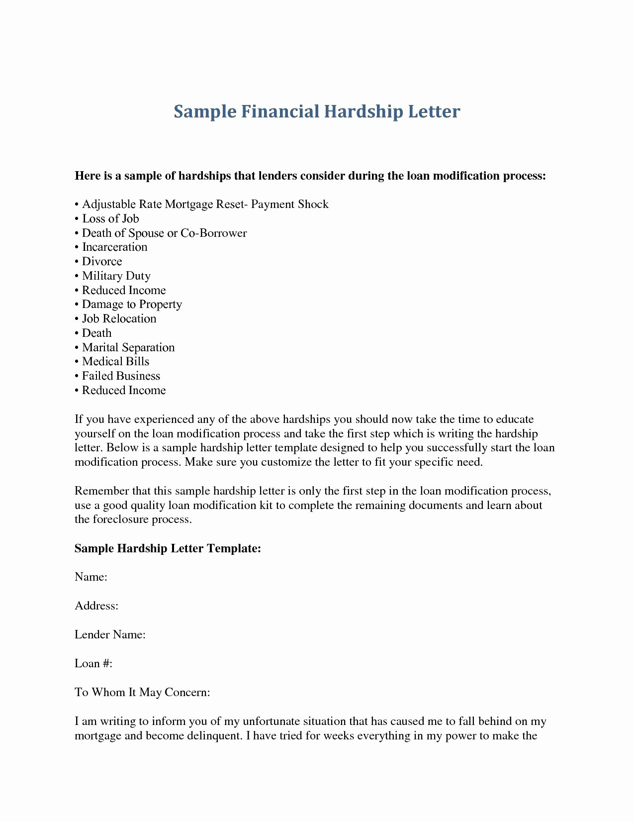 Hardship Letter Template for Loan Modification Request Inspirational Valid Hardship Letter Example Loan Modification