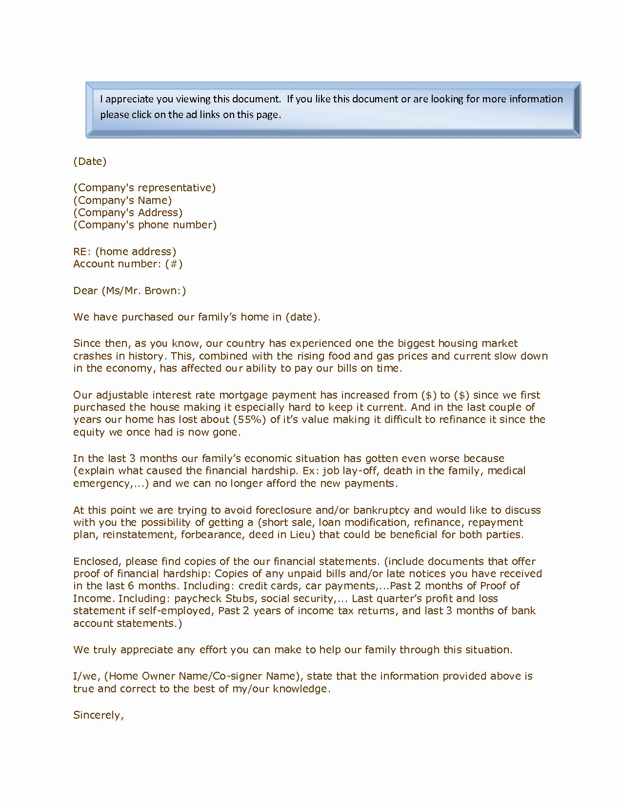 Hardship Letter Template for Loan Modification Request Luxury Mortgage Hardship Letter Template Download