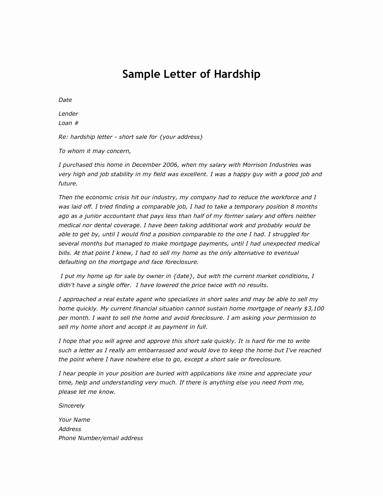 Hardship Letter Template for Loan Modification Request Luxury Mortgage Payment Shock Letter Template Collection