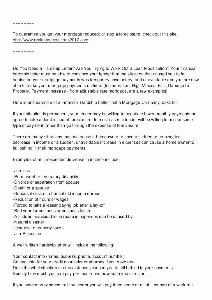 Hardship Letter Template for Loan Modification Request Unique Hardship Letter for Short Sale