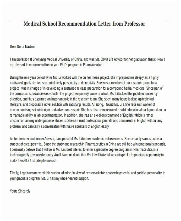 Harvard Letter Of Recommendation Awesome 8 Medical School Re Mendation Letter Free Sample