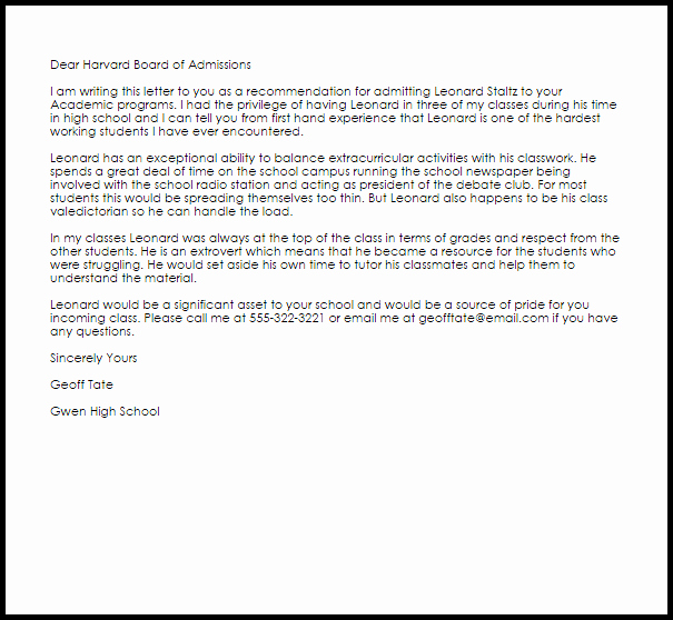Harvard Letter Of Recommendation Awesome Academic Re Mendation Letter Example