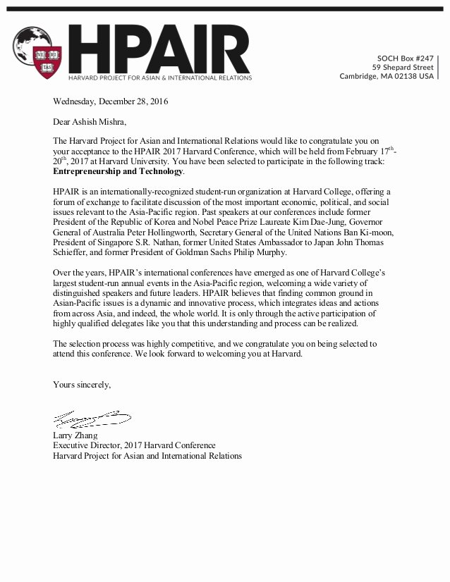 Harvard Letter Of Recommendation Beautiful 2017 Harvard Conference Acceptance Letter for ashish
