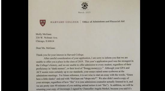 Harvard Letter Of Recommendation Beautiful High School Student's Fake Harvard Rejection Letter Goes