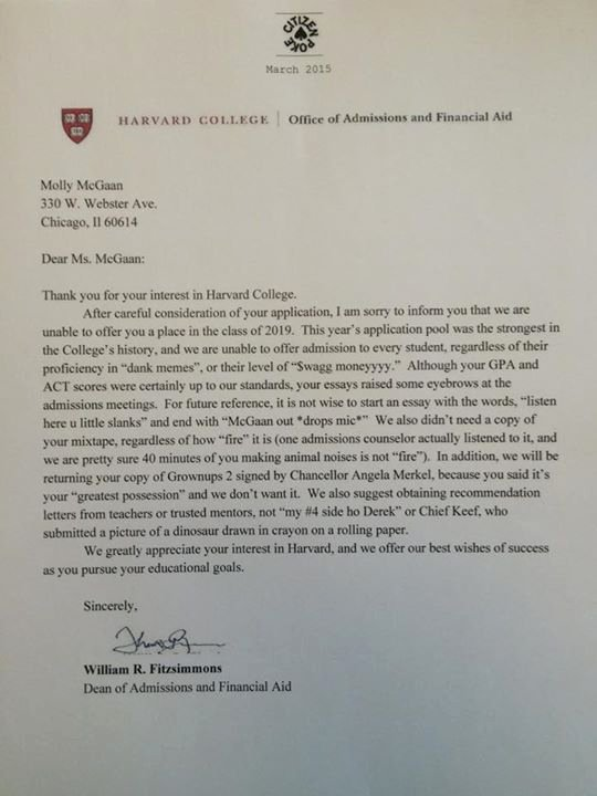 Harvard Letter Of Recommendation Fresh Chicago High School Student's Fake Harvard Rejection