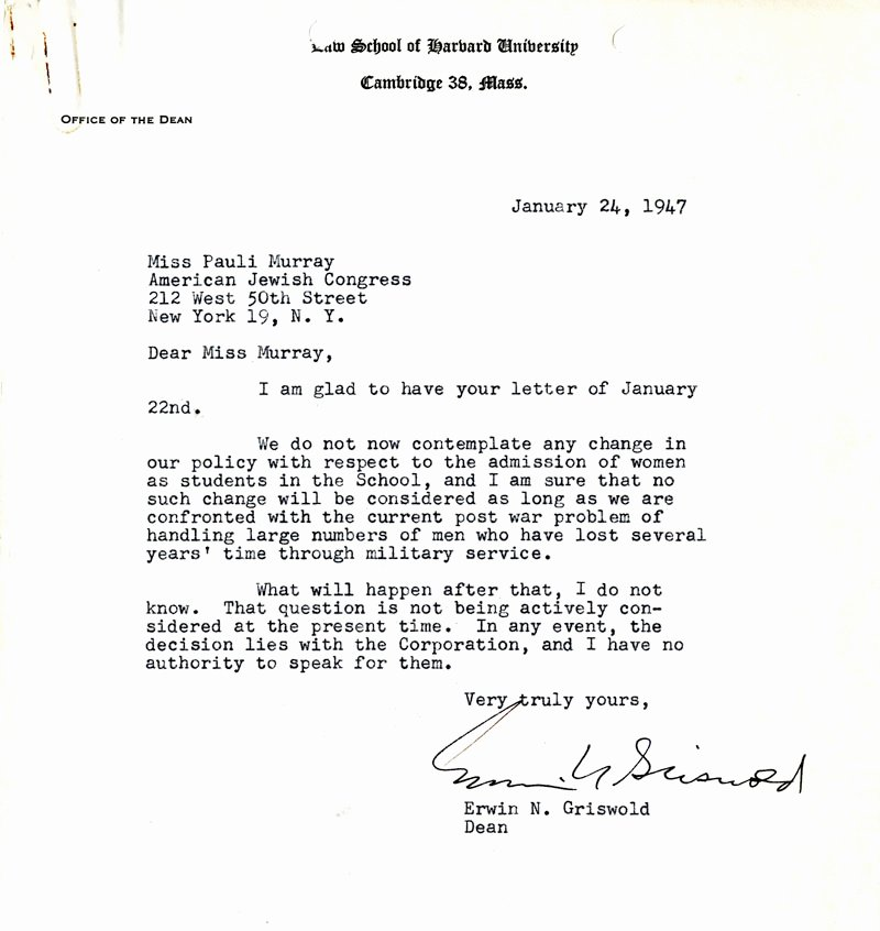 Harvard Letter Of Recommendation Lovely Letter From Dean Erwin Griswold to Pauli Murray Affirming
