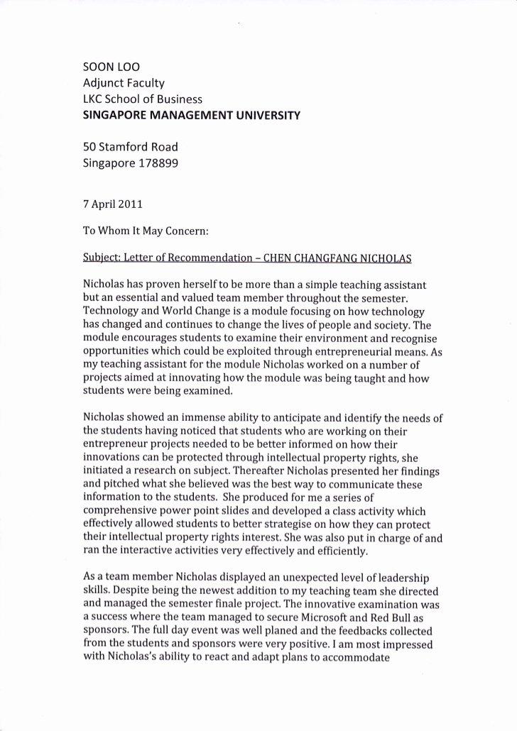 Harvard Mba Recommendation Letter Lovely Letter Re Mendation Smu