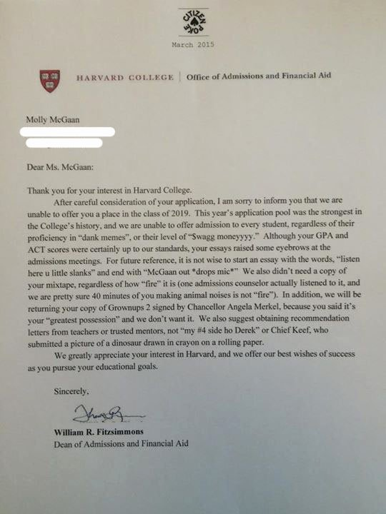 Harvard Mba Recommendation Letter Unique Chicago High School Student S Fake Harvard Rejection
