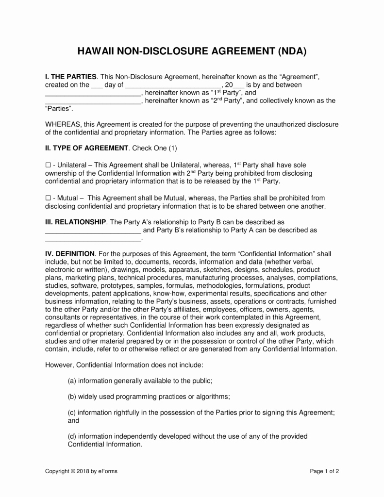 Hawaii Rental Agreement Fillable Awesome Hawaii Non Disclosure Agreement Nda Template