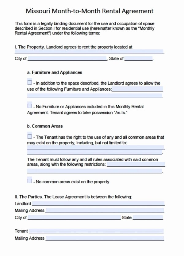 Hawaii Rental Agreement Fillable Lovely Free Missouri Month to Month Lease Agreement Pdf