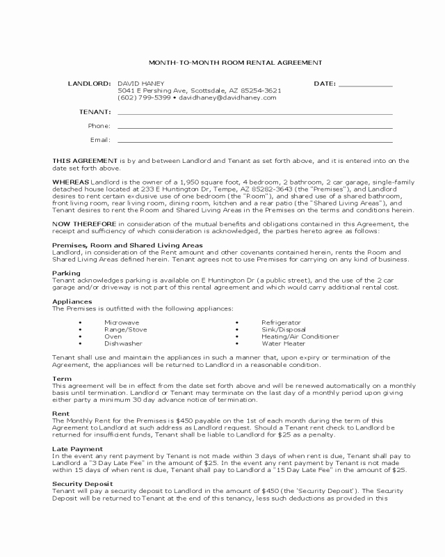 Hawaii Rental Agreement Fillable Lovely Month to Month Room Rental Agreement Landlord Template