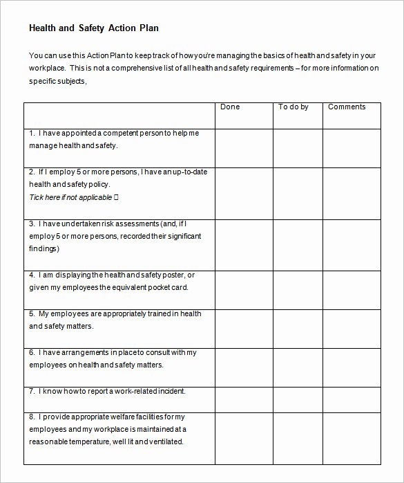 Health and Safety Plan Template Elegant 85 Action Plan Templates Word Excel Pdf