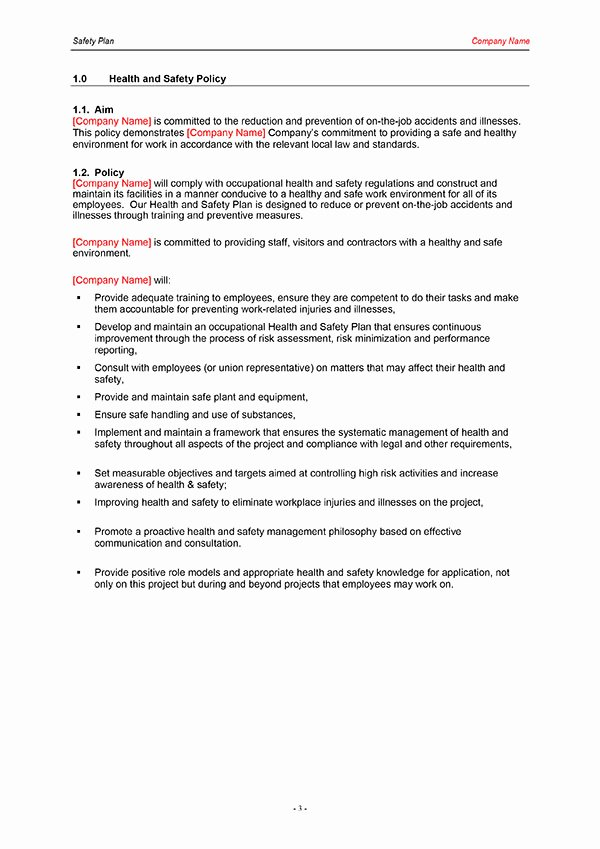 Health and Safety Plan Template Lovely 26 Of Construction Safety Plan Template for Word