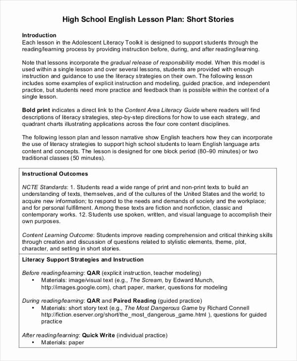 High School Lesson Plan Template Beautiful 40 Lesson Plan Templates
