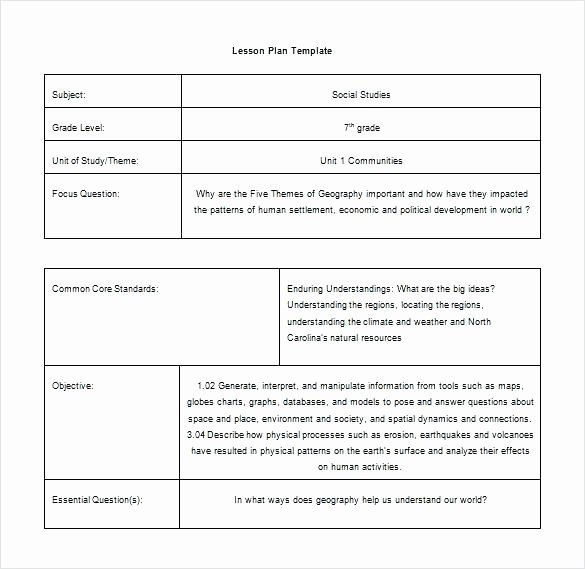 High School Lesson Plan Template New Lesson Plan Template Mon Core Printable for High School