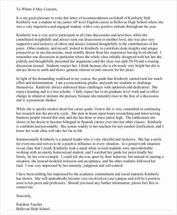 High School Student Recommendation Letter Elegant Sample Student Letter