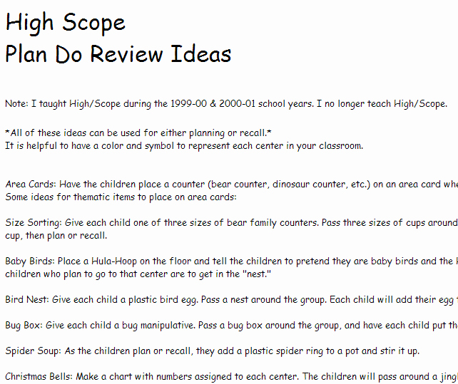 High Scope Lesson Plan Template Awesome High Scope Plan Do Review Ideas From Prekinders