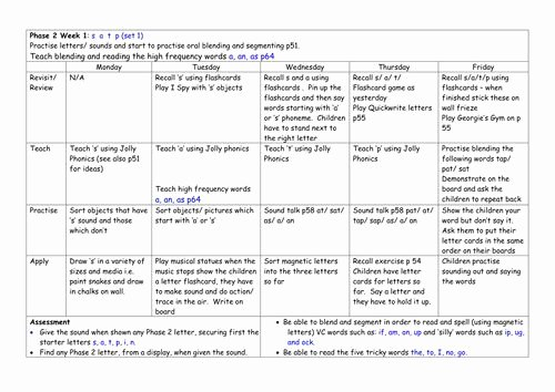High Scope Lesson Plan Template Beautiful Weekly Phonics Plans Phases 1 6