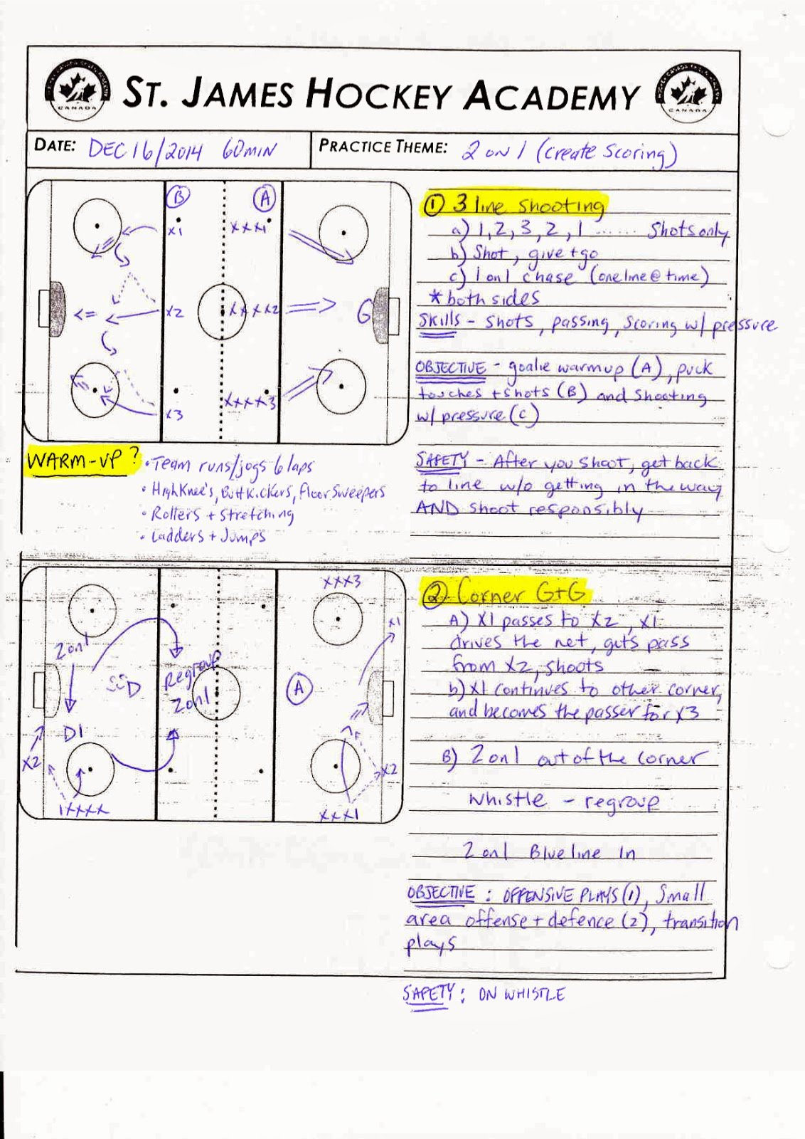 Hockey Practice Plan Template Beautiful St James assiniboia Hockey Academy Grade 11