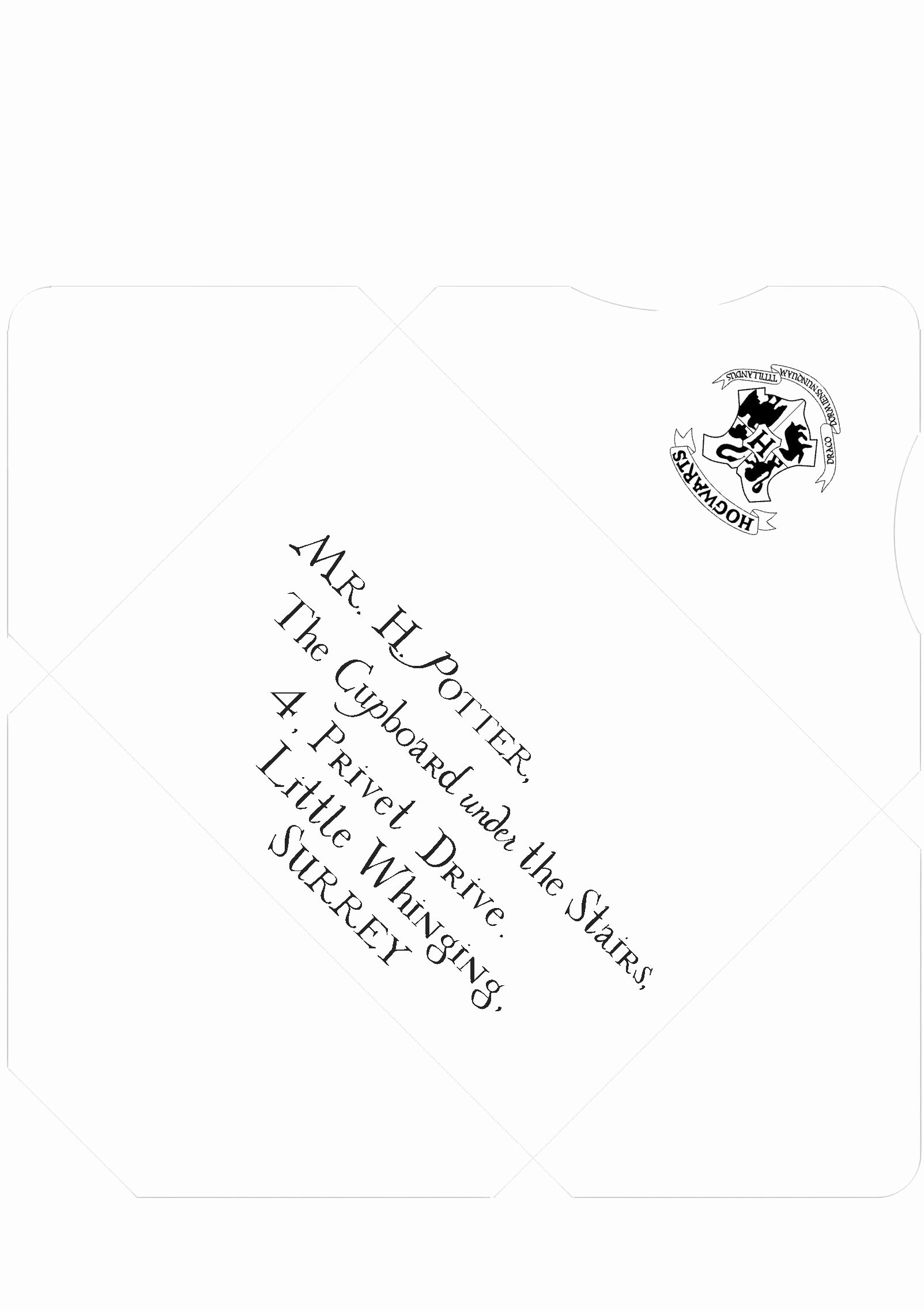 Hogwarts Envelope Printable Elegant Harry Potter Inspired Addressed and Sealed Envelope