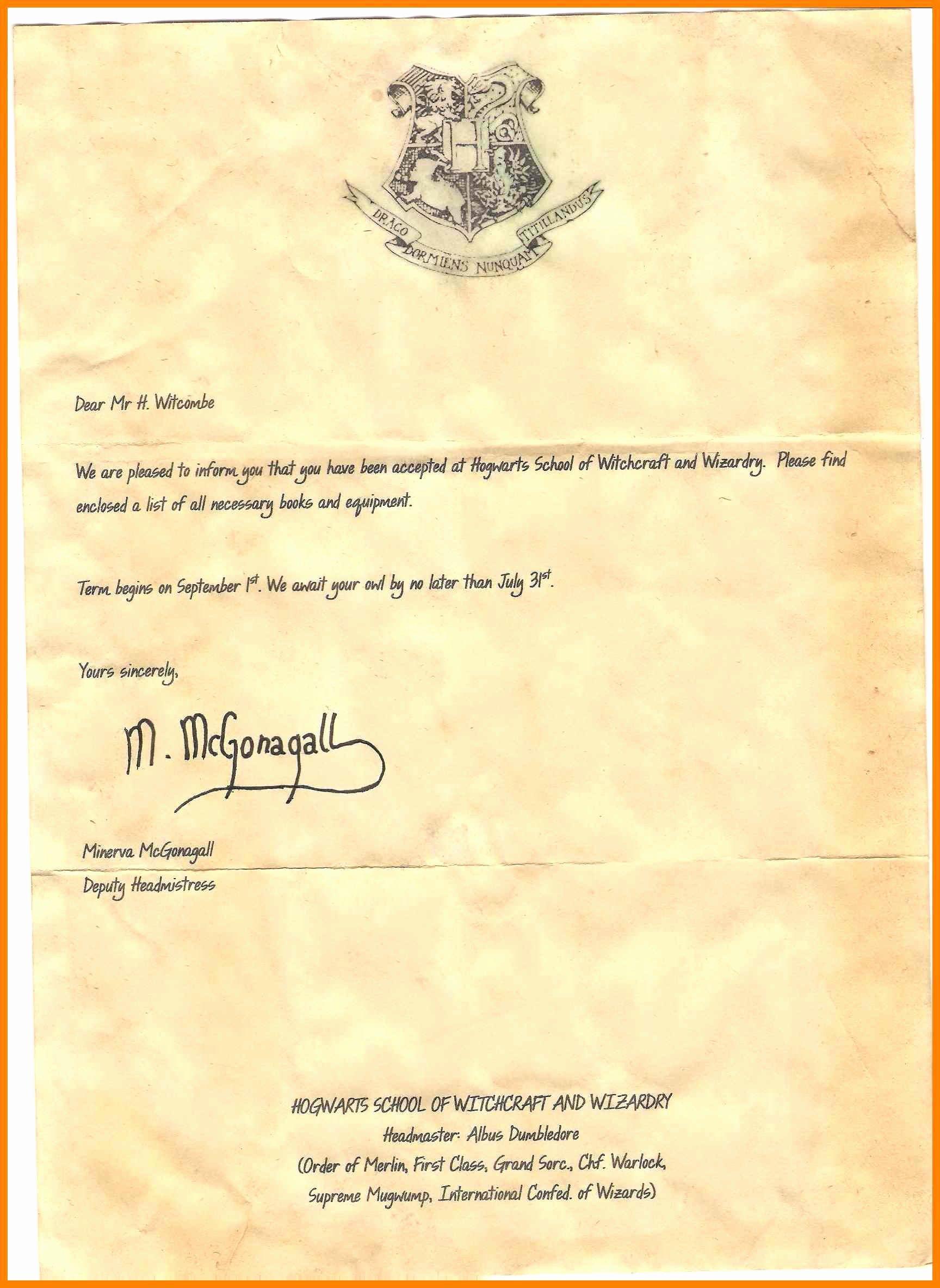 Hogwarts Envelope Printable New Printable Hogwarts Acceptance Letter Design Templates