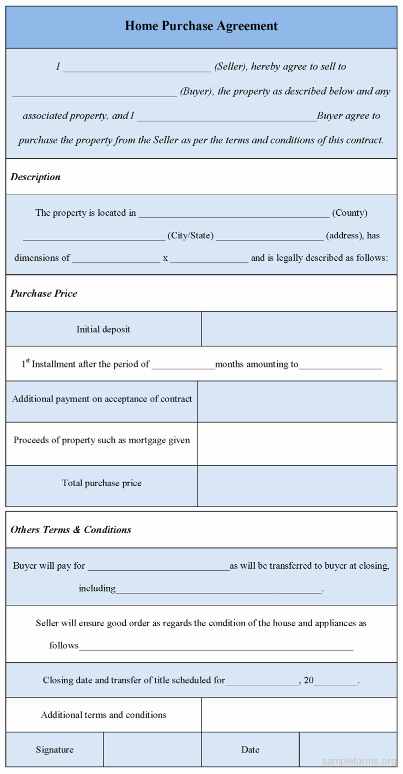 Home Buyout Agreement Elegant Home Purchase Agreement form Sample forms