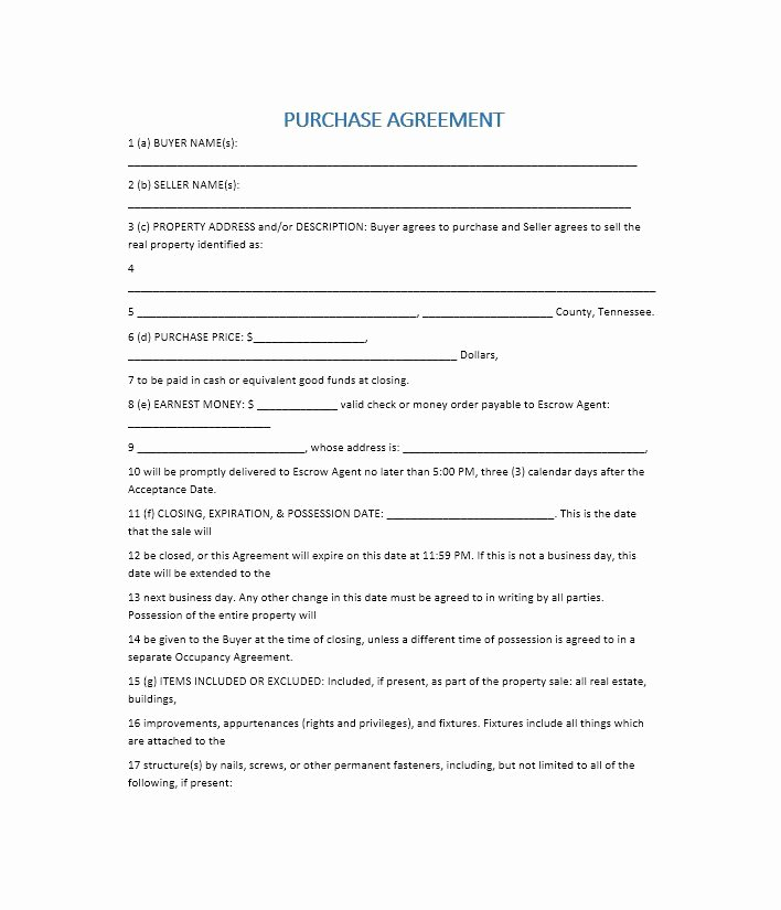 Home Buyout Agreement Fresh 37 Simple Purchase Agreement Templates [real Estate Business]