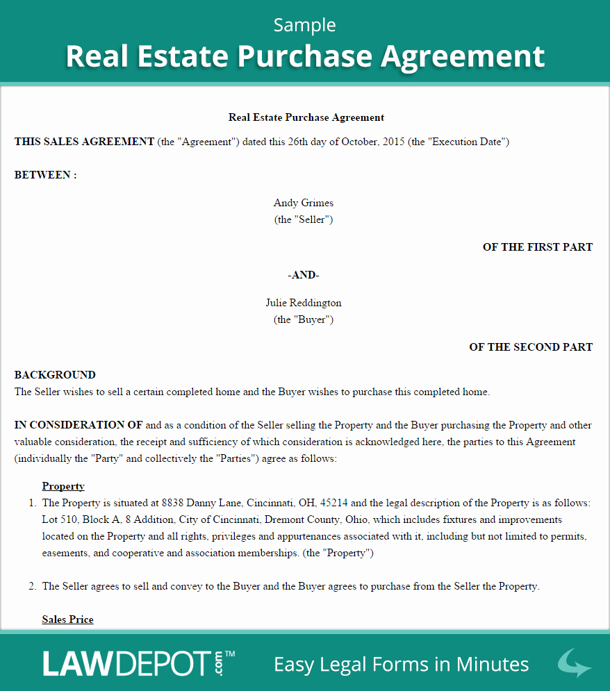 Home Buyout Agreement Fresh Real Estate Purchase Agreement United States form Lawdepot
