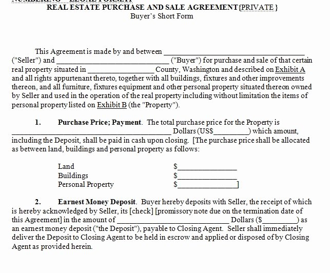 Home Buyout Agreement Lovely House for Sale Contract