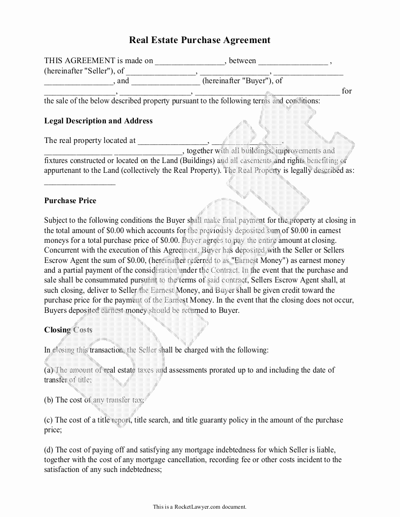 Home Buyout Agreement Luxury Real Estate Purchase Agreement form Free Templates with