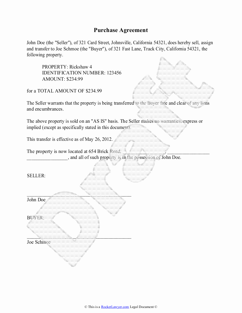 purchase agreement template rl