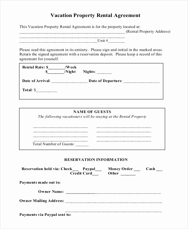 Home Buyout Agreement Template Best Of Vacation Rental Agreement – 8 Free Word Pdf Documents