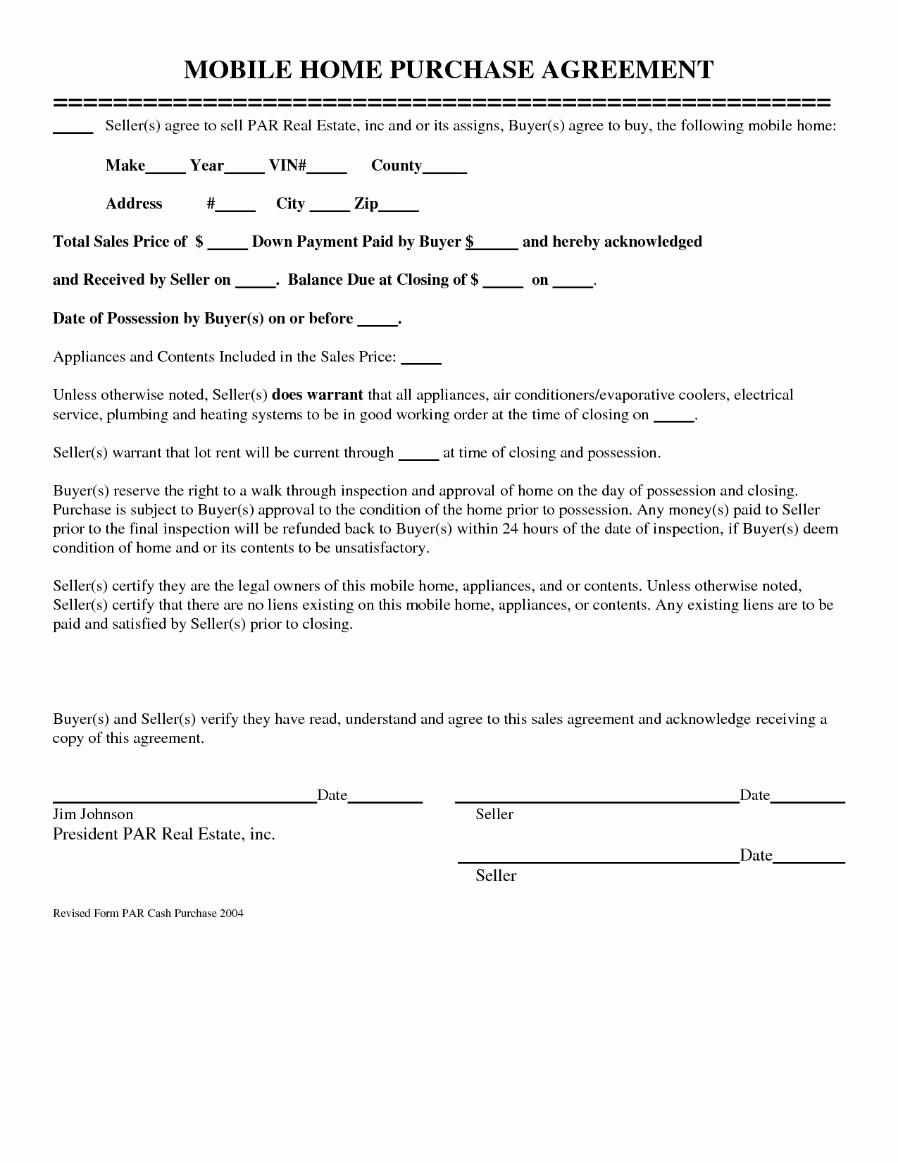 Home Buyout Agreement Template Luxury 10 Best Of Mobile Home Purchase Agreement