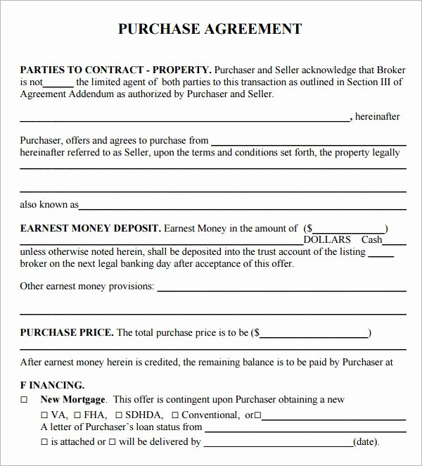 Home Buyout Agreement Template Awesome Sample Home Purchase