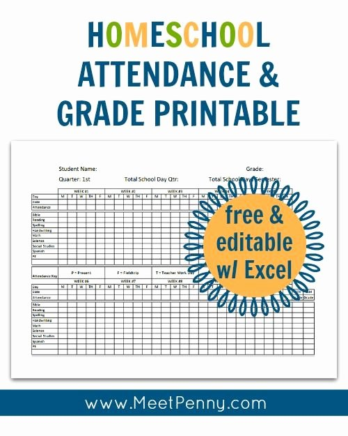Homeschool Lesson Plan Template Excel Best Of Homeschool attendance and Grades Printable