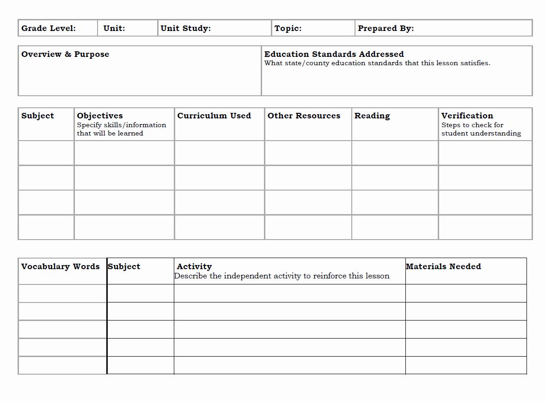 Homeschool Lesson Plan Template Fresh Unit Study Lesson Plan Template