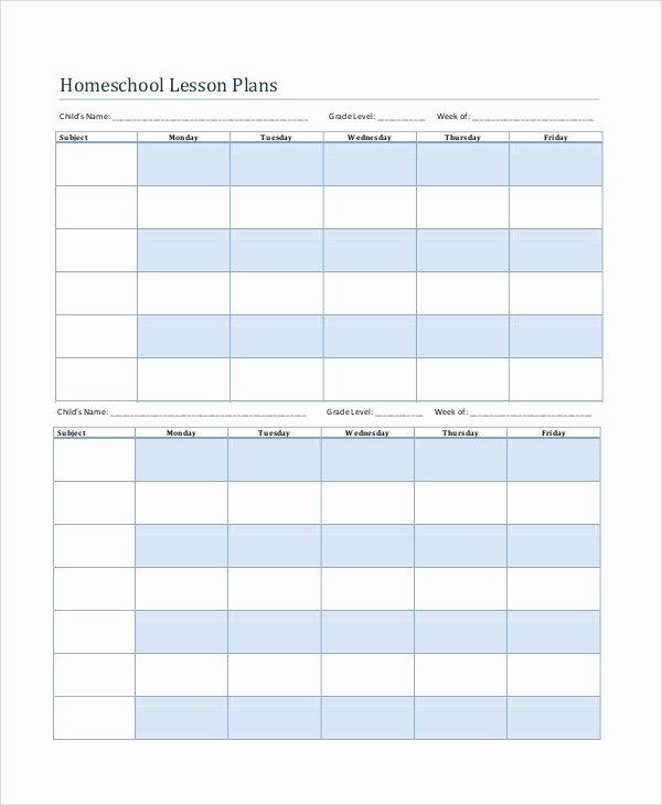 Homeschool Lesson Plan Template New Printable Lesson Plan 7 Free Word Pdf Documents