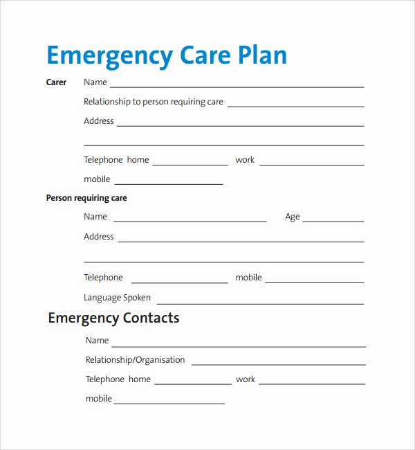 Hospital Emergency Preparedness Plan Template Best Of 12 Care Plan Templates