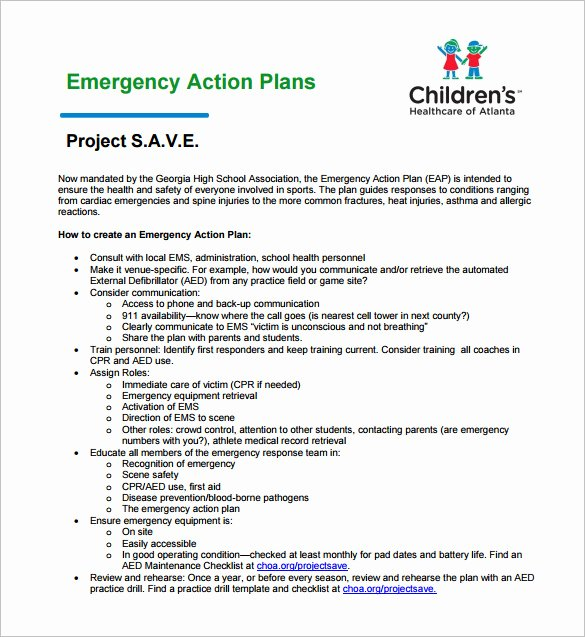 Hospital Emergency Preparedness Plan Template Best Of Emergency Action Plan Template 8 Free Sample Example