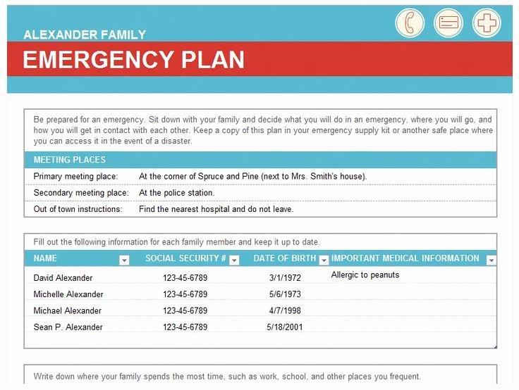 Hospital Emergency Preparedness Plan Template Best Of Emergency Family Plan