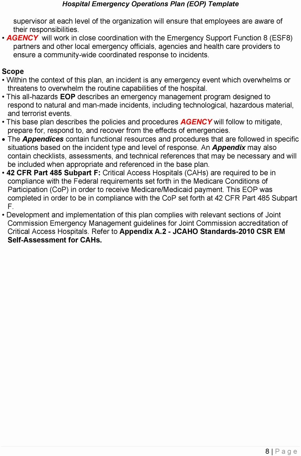 Hospital Emergency Preparedness Plan Template Fresh Hospital Emergency Operations Plan Eop Template Pdf