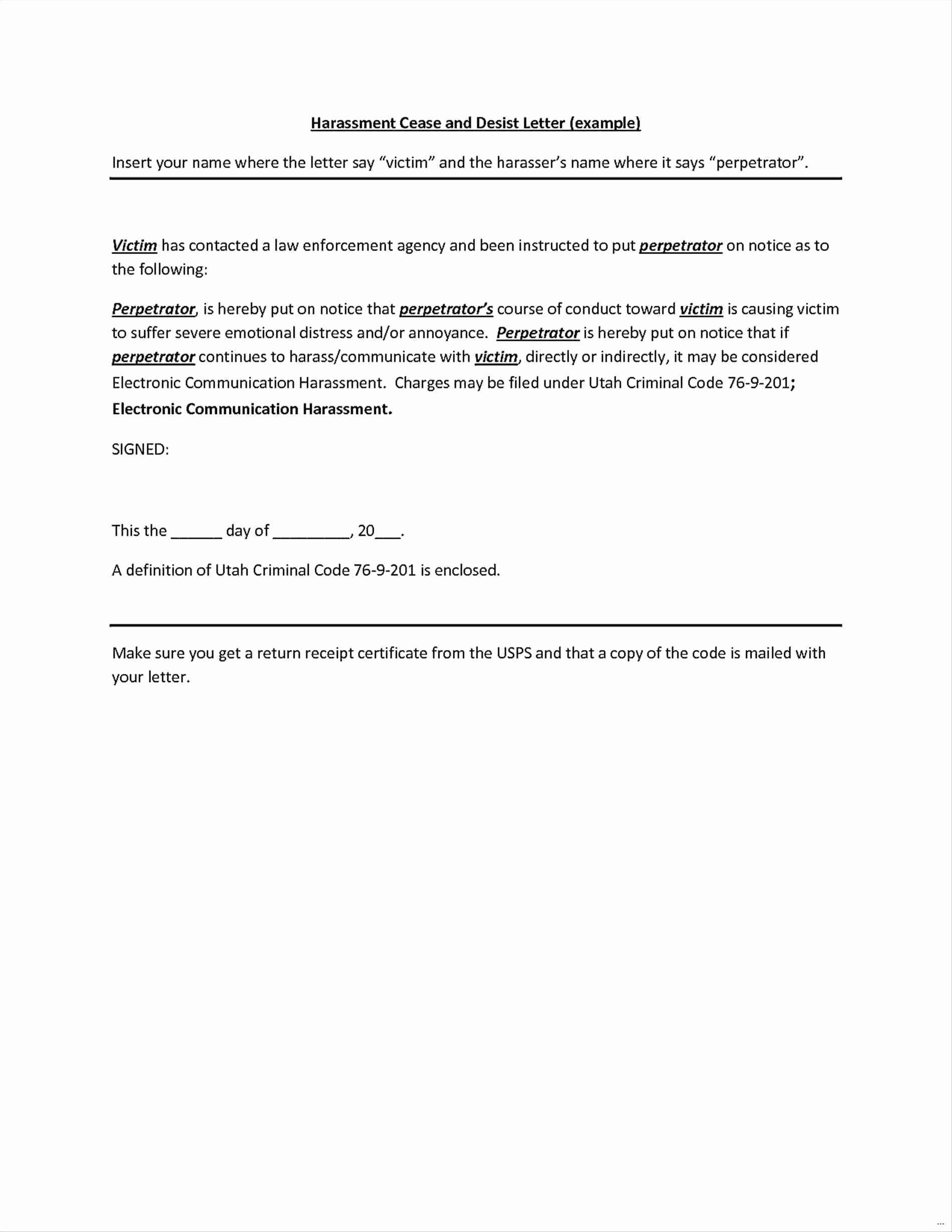 How to Write A Defamation Of Character Letter Beautiful Free Cease and Desist Letter Template for Harassment Sample