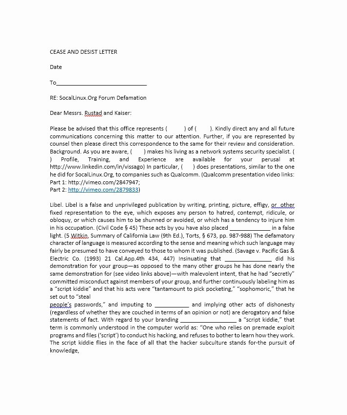How to Write A Defamation Of Character Letter Elegant 30 Cease and Desist Letter Templates [free] Template Lab