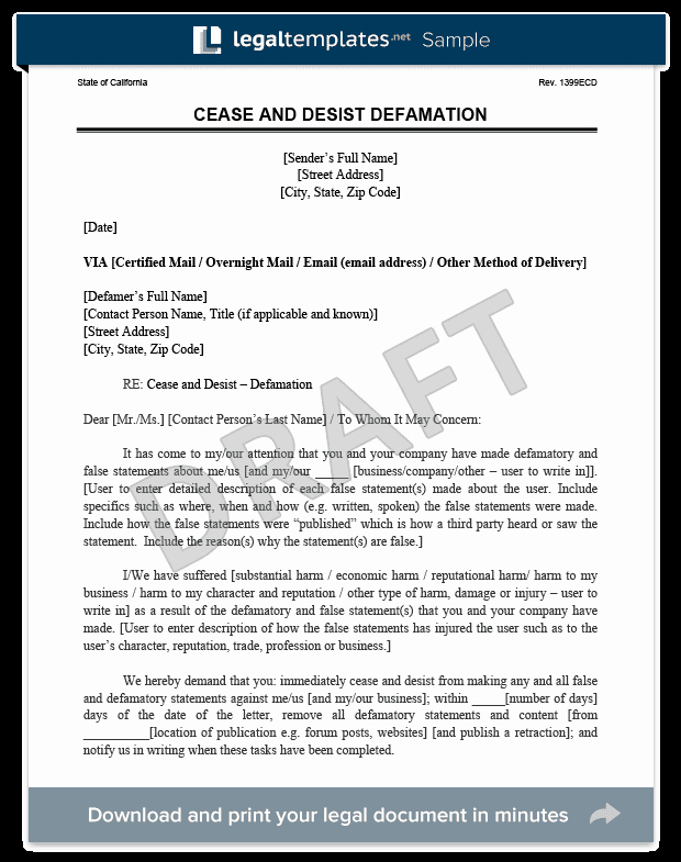 How to Write A Defamation Of Character Letter Elegant Cease and Desist Letter C&d