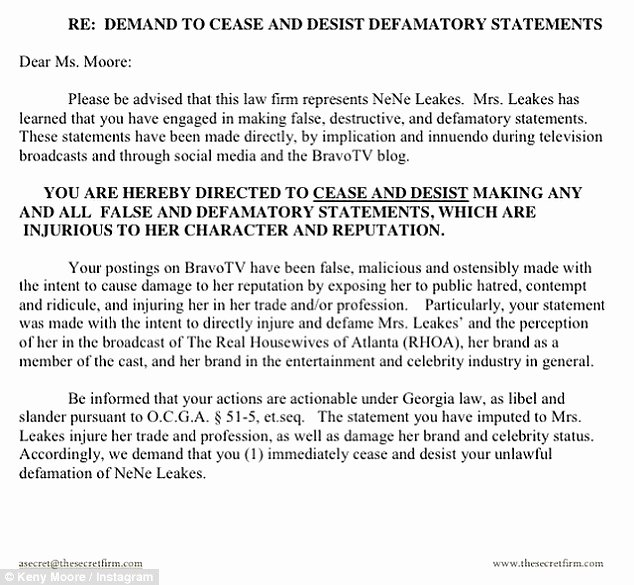 How to Write A Defamation Of Character Letter New Real Housewives Kenya Moore Slapped with Cease and Desist