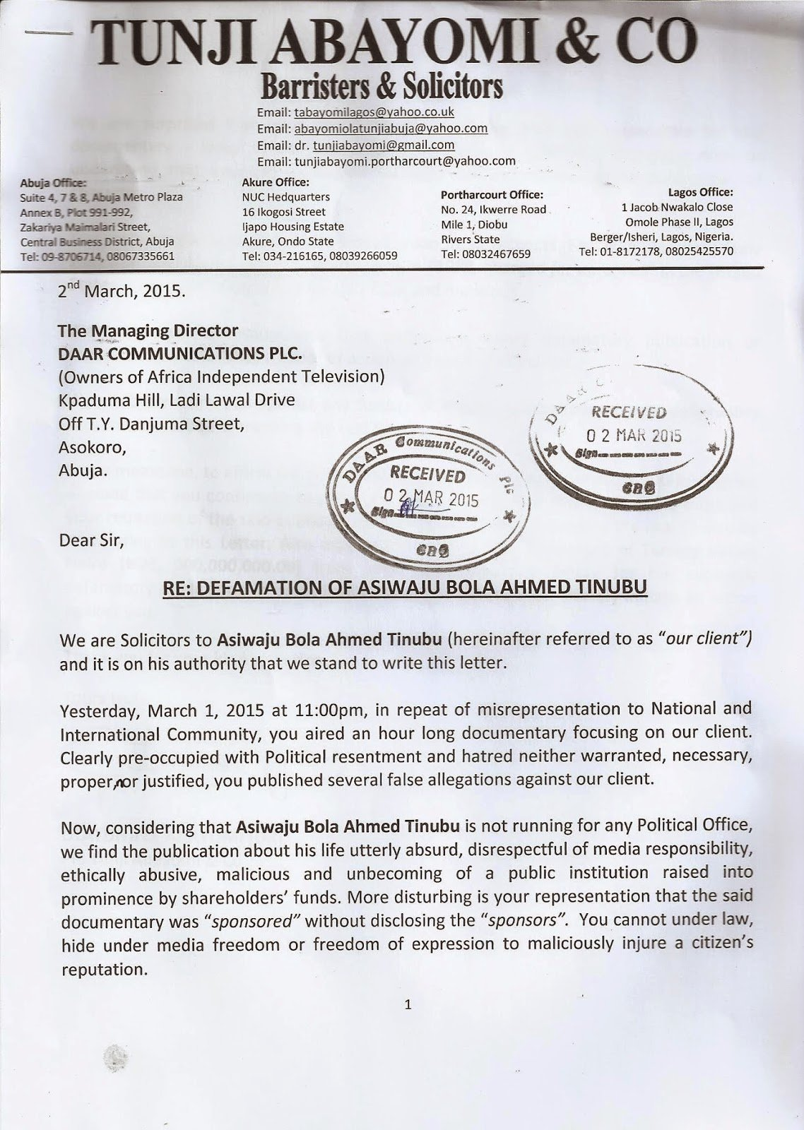 How to Write A Defamation Of Character Letter New Stella Dimoko Korkus Tinubu to Sue Ait for Character