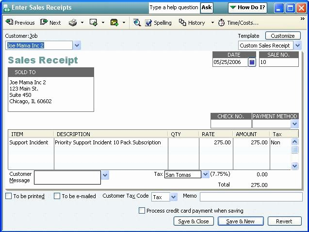How to Write A Reciept Elegant [qodbc Desktop] How to Create A Sales Receipt Using Qodbc